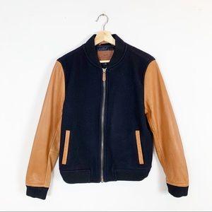 COACH Men's Leather Sleeve Baseball Jacket Zip Up